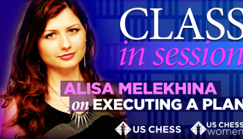 Alisa Melekhina, purple background, Class in Session