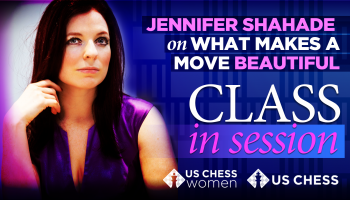 Jen Shahade, purple dress, chess lesson on Beautiful Moves