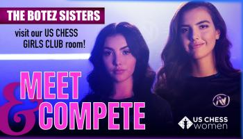 Alexandra and Andrea Botez, in a promo graphic for their US Chess Women appearance